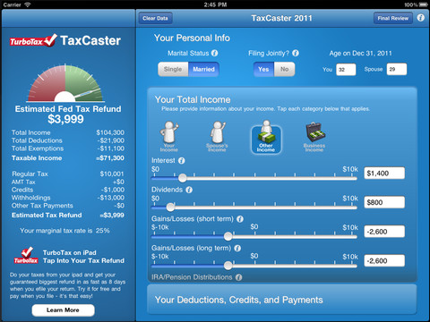 Turbotax taxcaster tax calculator app.